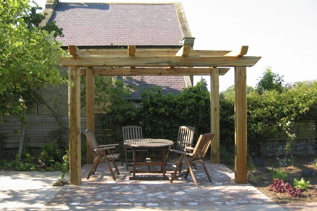 Pergola With Hand Made Brick Seating Area